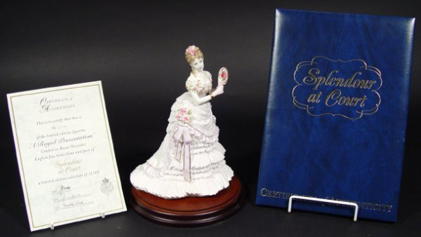 1215: Large Royal Worcester figurine, 'A Royal Presenta