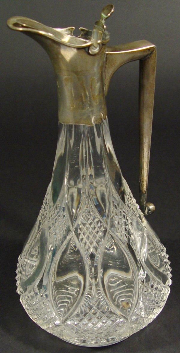 1322: Edwardian silver mounted cut glass claret jug, Lo