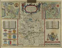 Early 17th century hand coloured map of Huntingdon by