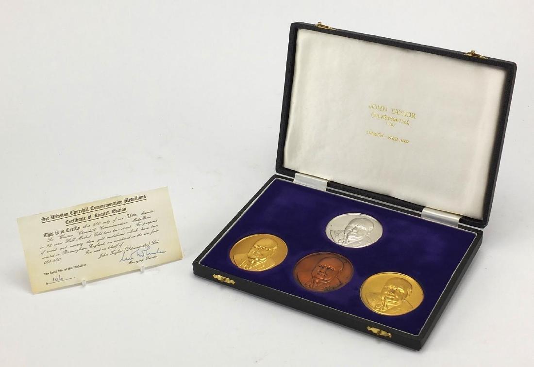 Four Sir Winston Churchill commemorative medallions