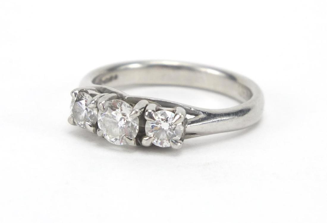 Mappin & Webb platinum diamond three stone ring, size