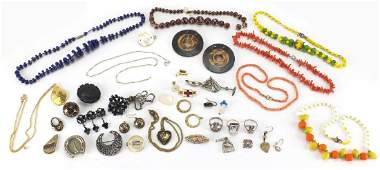 Antique, vintage and later jewellery including pique