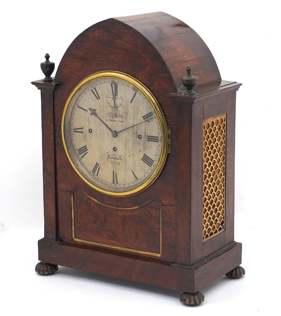 Rosewood bracket clock with brass inlaid front, the