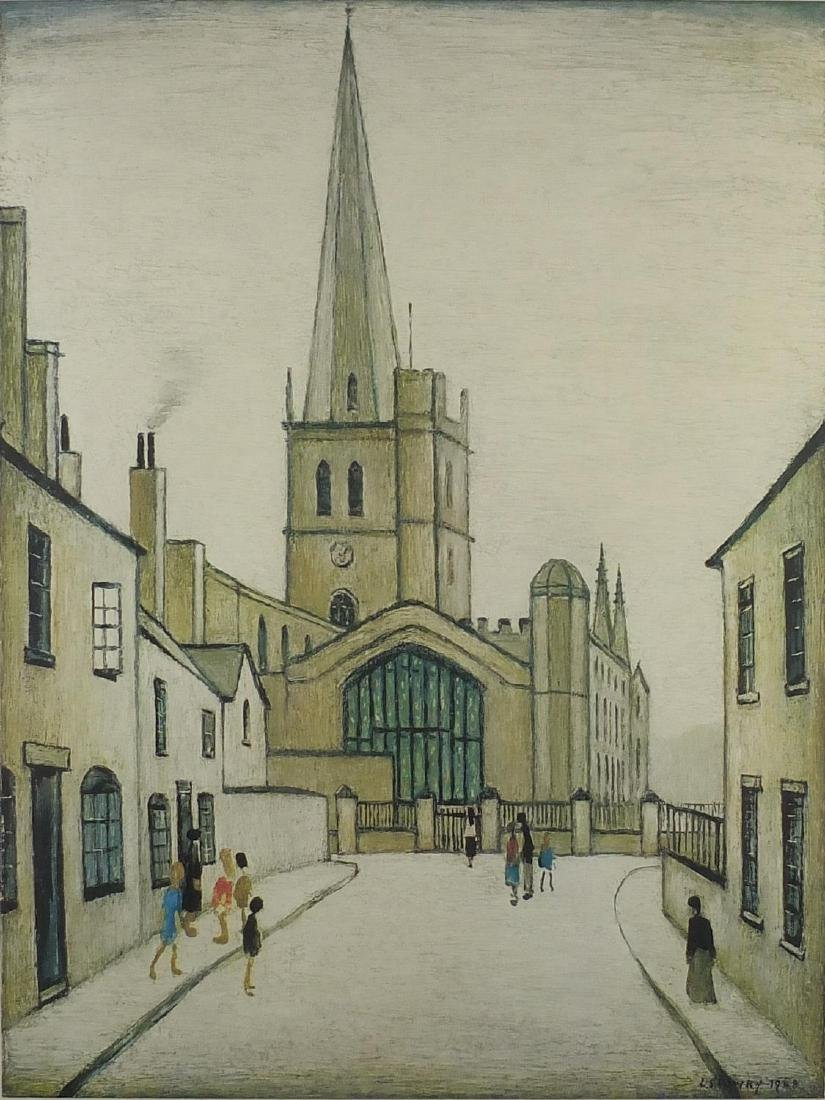 Laurence Stephen Lowry - Burford Church, pencil signed