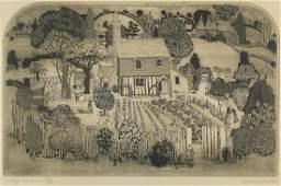 Graham Clarke - Cottage gardeners, pencil signed black