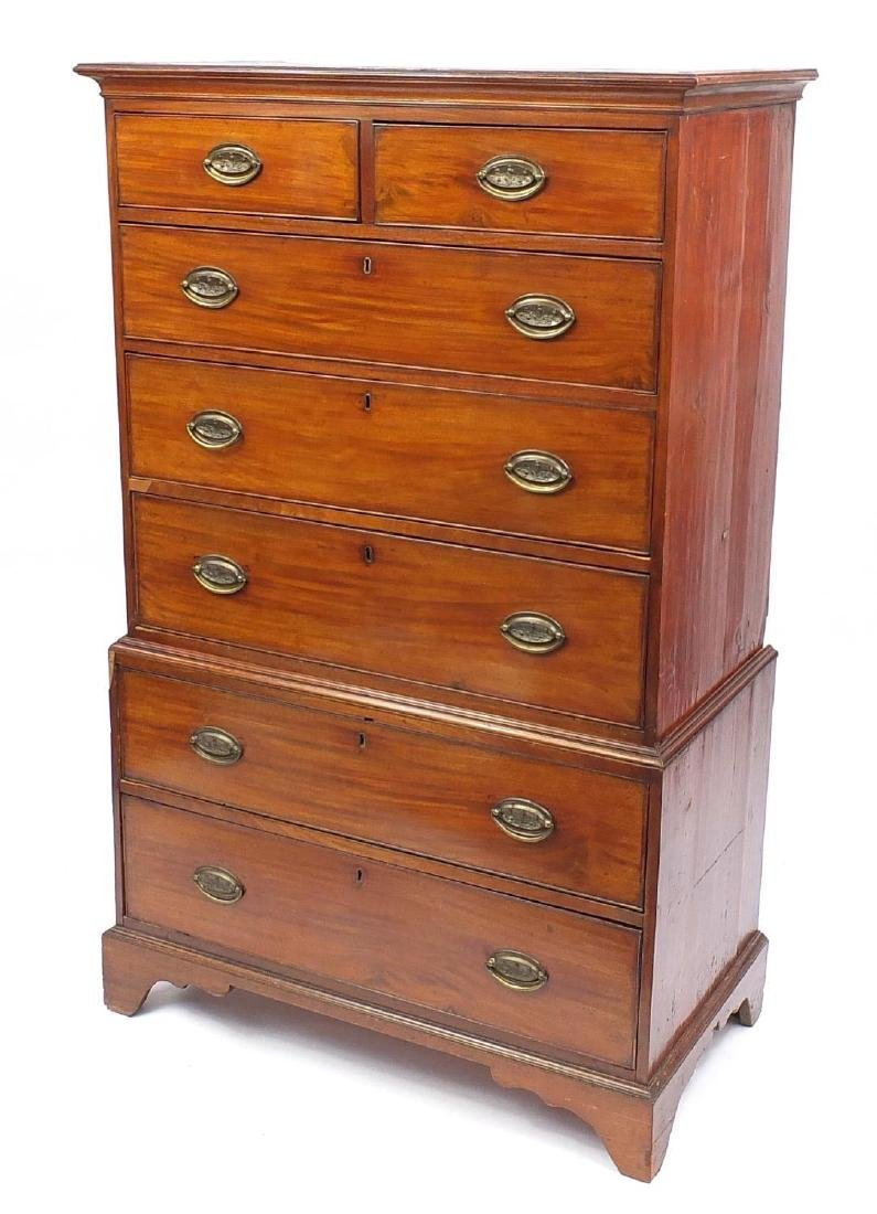 19th Century mahogany tall boy fitted with two short