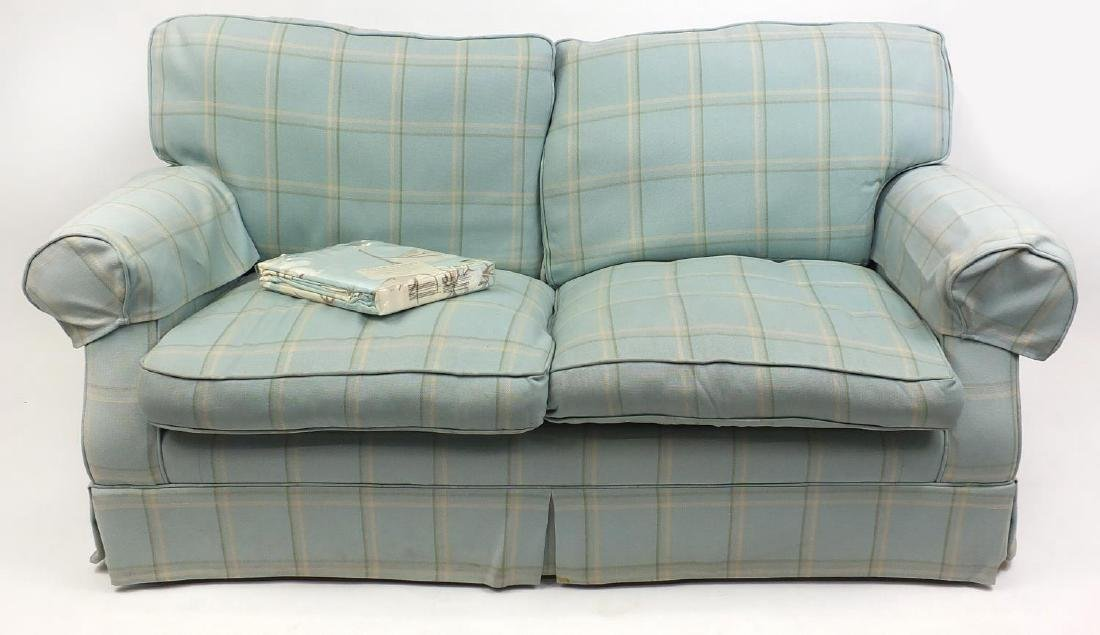 Laura Ashley two seater settee with light blue check
