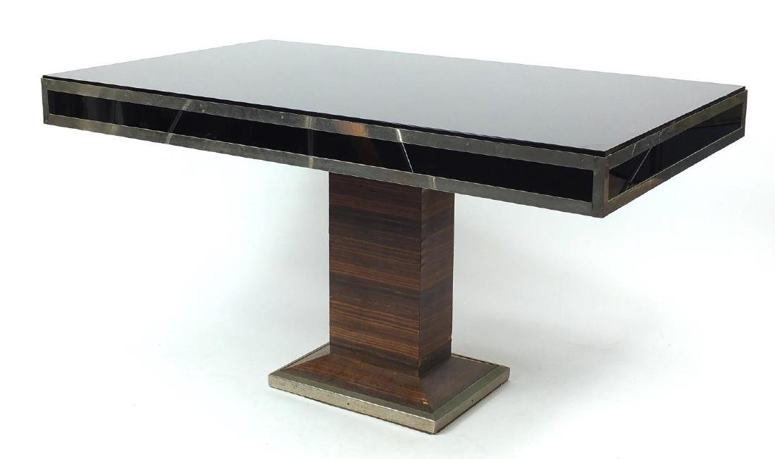 Art Deco rosewood pedestal table with black glass and