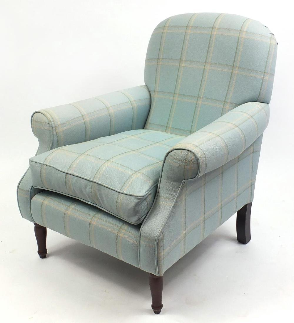 Laura Ashley fire side chair with light blue check
