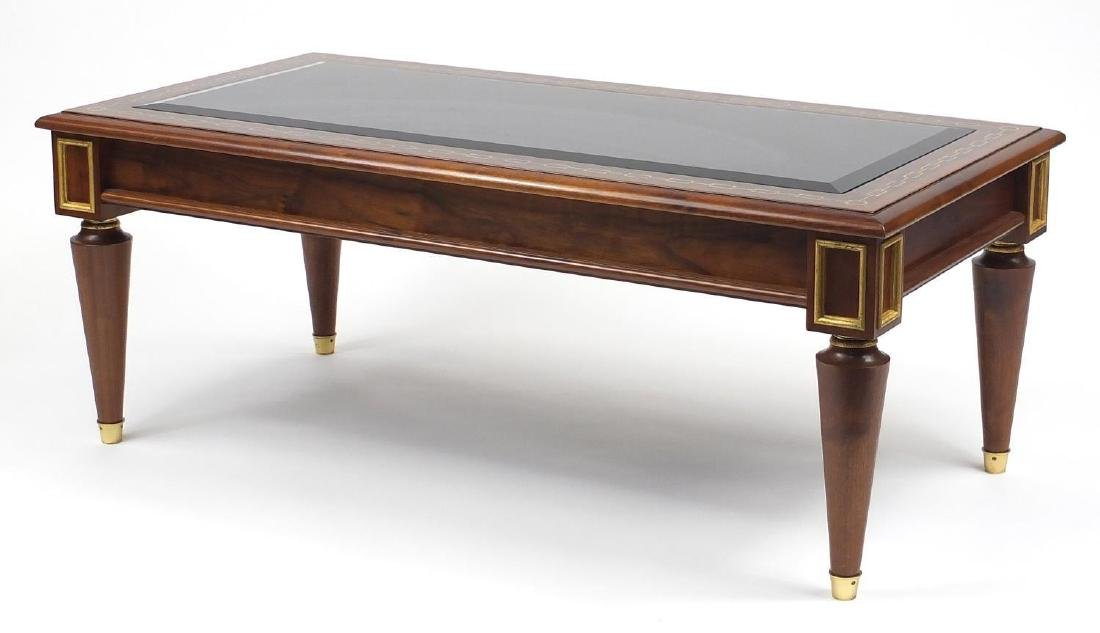 Clive Christian inlaid walnut coffee table with beveled