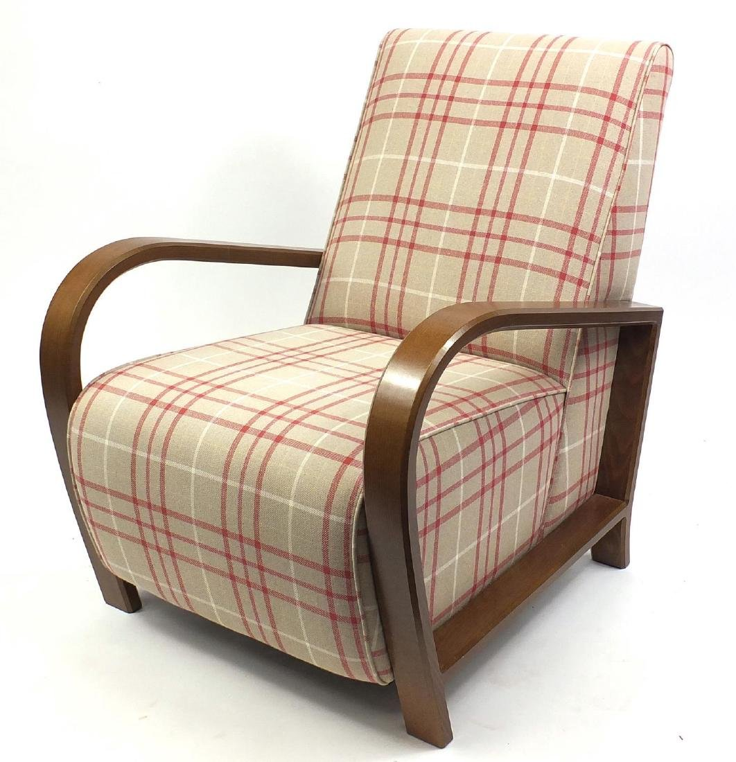 Art Deco style oak framed easy chair with check