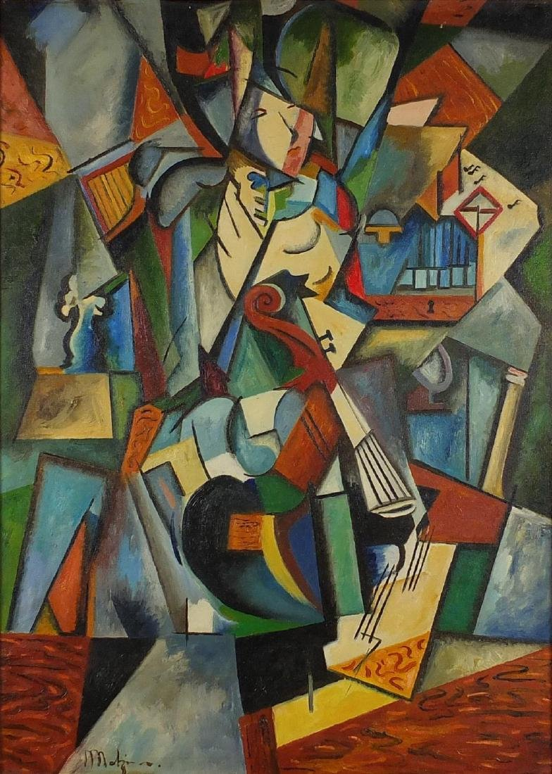 Abstract composition, geometric surreal figure, oil