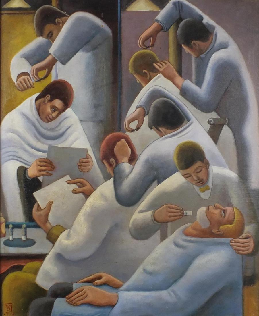 Barbers, German school oil onto canvas board, earing a
