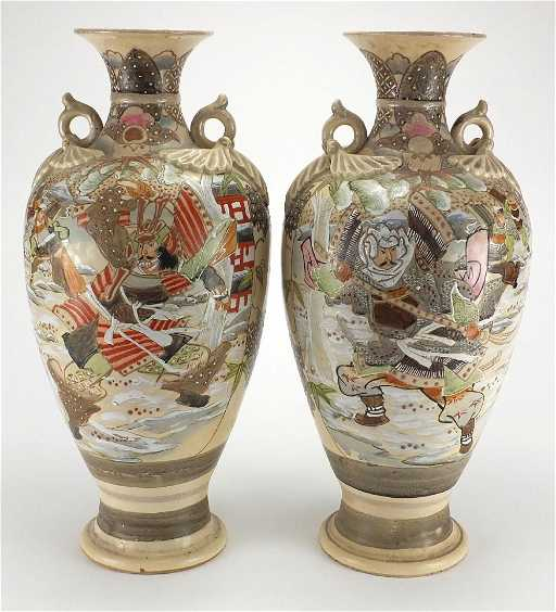 Large Pair Of Japanese Satsuma Pottery Vases With Twin