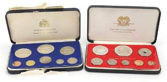 Two proof sets by the Franklin Mint, Barbados and Papua