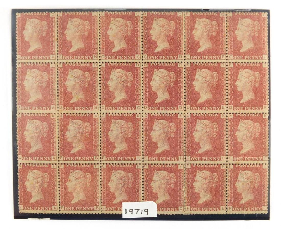 Block of twenty four Victorian penny red stamps Further condition reports can be found at the