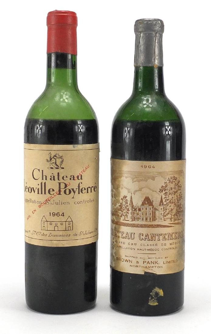 Two bottles of 1964 red wine comprising Chateau Cantemerle and Chateau Leoville Poyferre Further