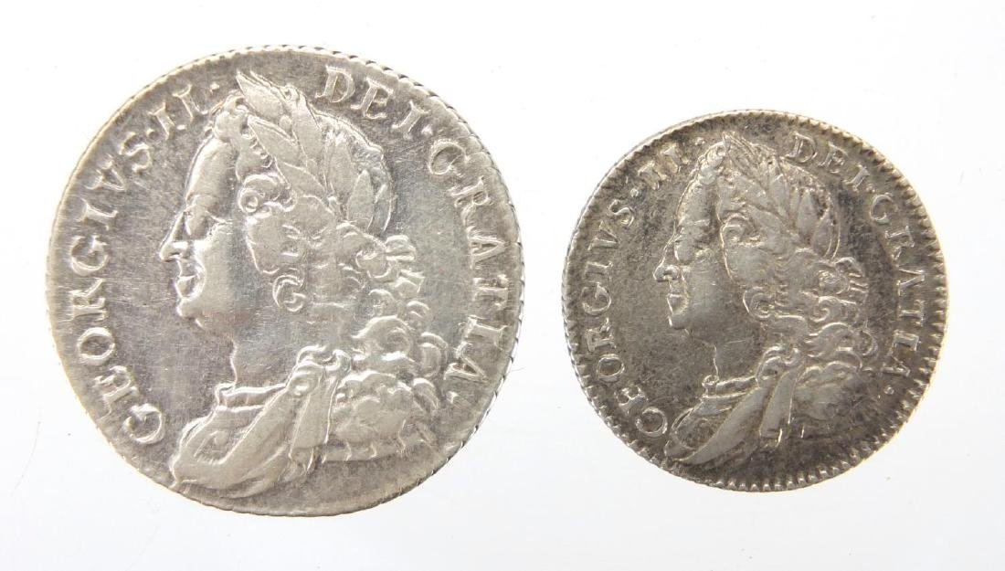 Two George II silver coins comprising 1758 shilling and 1757 six pence, approximate weight 9.0g