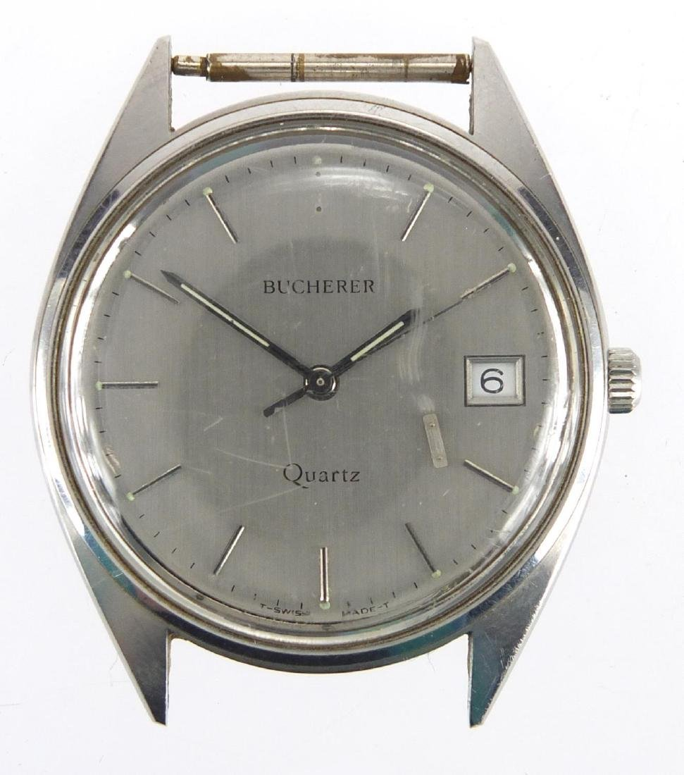 Gentleman's Bucherer quartz wristwatch with date dial, 3.2cm in diameter Further condition reports