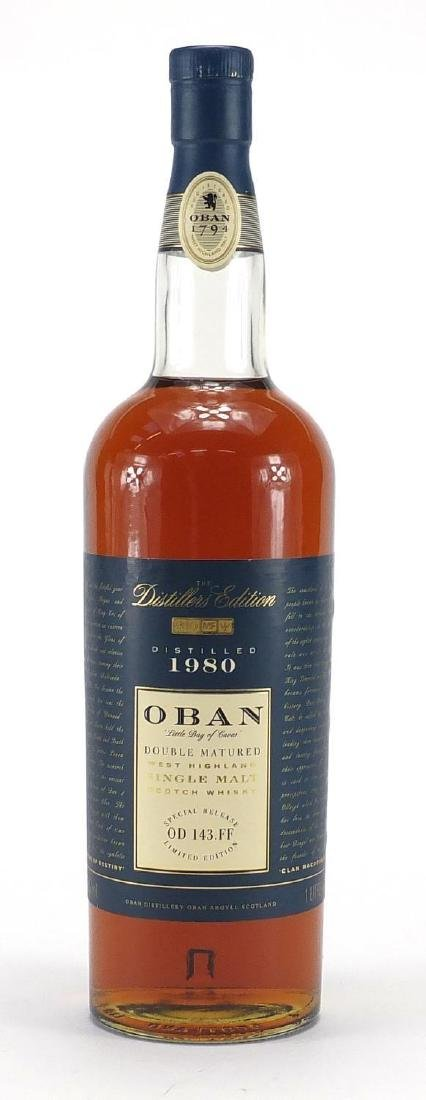 The Distillers edition bottle of Oban Double Matured single malt Scotch whiskey, distilled 1980,