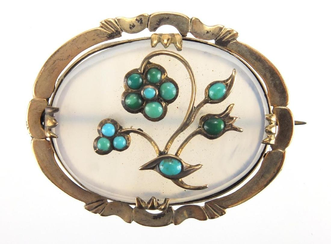 Victorian unmarked gold Opaline stone brooch set with Turquoise, 4cm in length, approximate weight