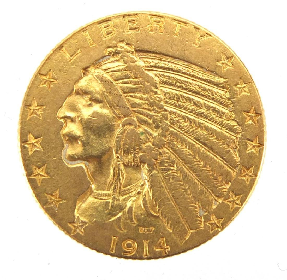United States of America 1914 gold five dollars, approximate weight 8.3g Further condition reports