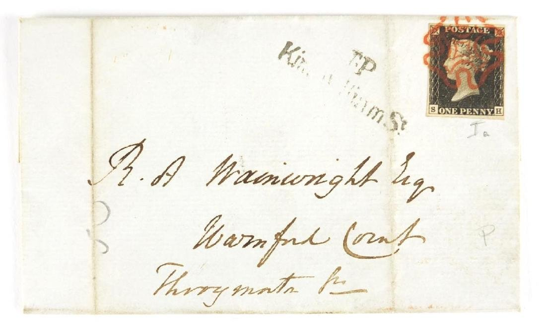 Postal history cover with penny black stamp, SH Further condition reports can be found at the