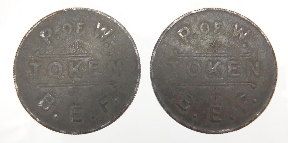 Two Prisoner of War British Expeditionary Force zinc tokens, each 3.1cm in diameter Further