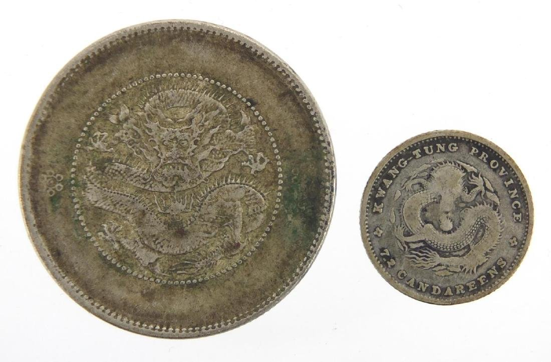 Two Chinese coins including 7.2 Candareens, approximate weight 16.1g Further condition reports can