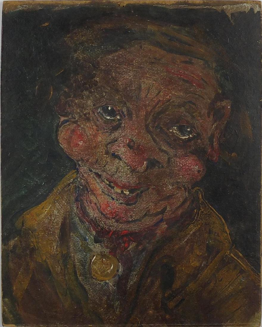 Head and shoulders portrait of a working man, oil on card, bearing an inscription C Soutine and
