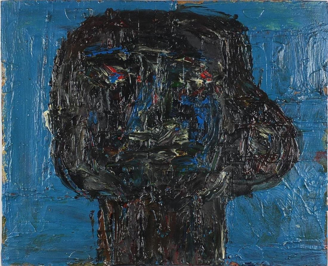 Abstract composition, portrait of a man, impasto oil on card, unframed, 51cm x 41.5cm Further