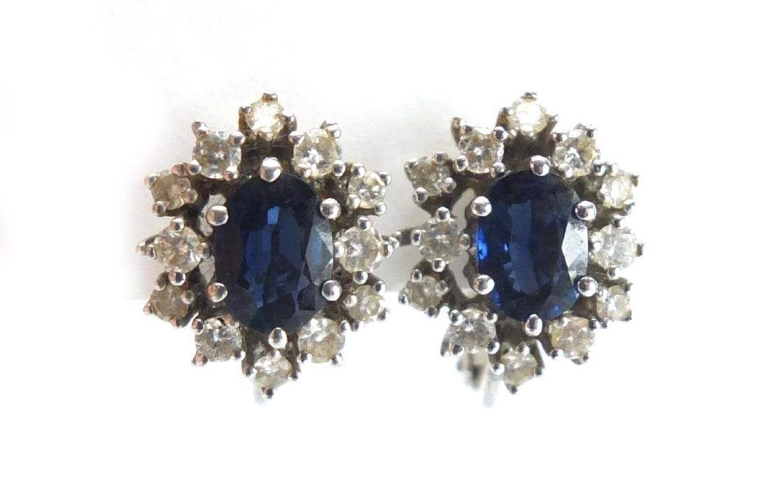 Pair of 18ct white gold sapphire and diamond cluster earrings, 1.5cm in length, approximate weight