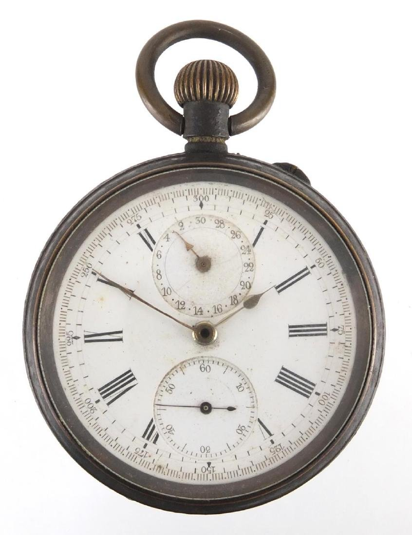 Gentleman's gunmetal chronograph pocket watch, the movement stamped V Ascot Patent 20th June 188?,