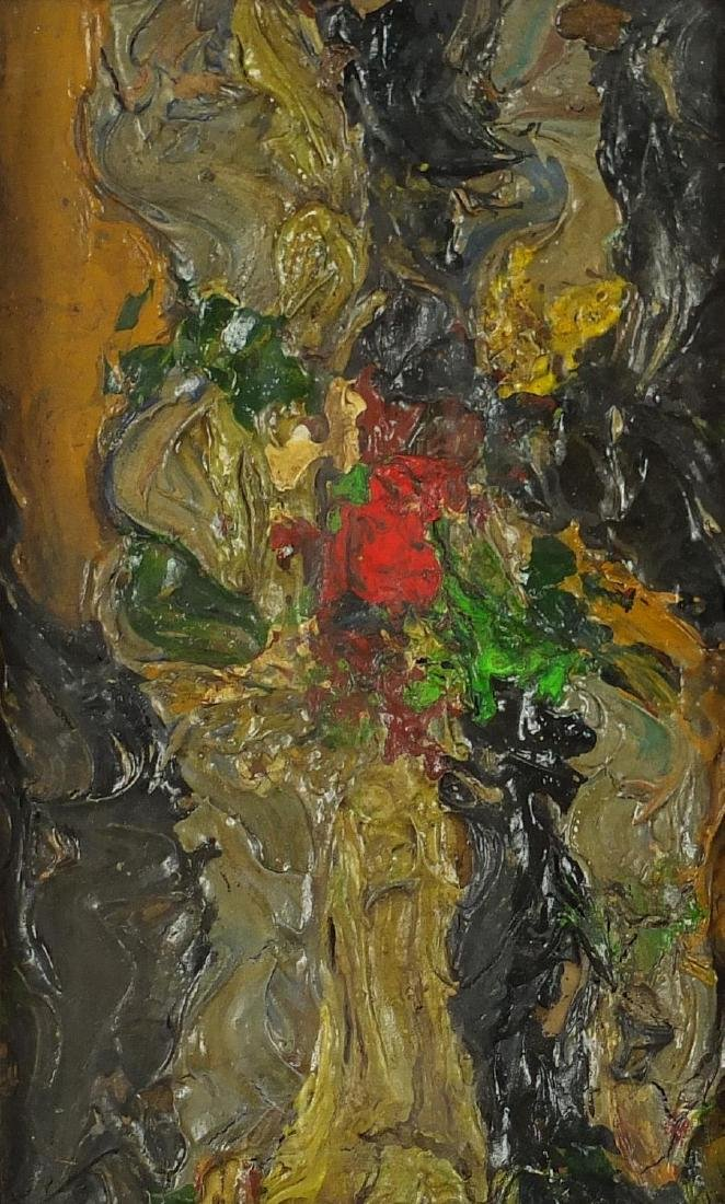 Abstract composition, impasto oil on board, bearing an inscription No 57 F Ab? verso, mounted and