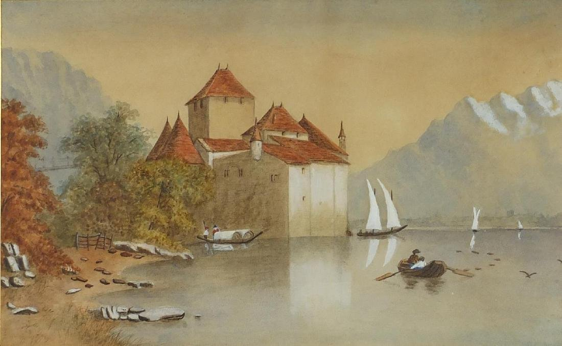 Swiss Alps, 19th century heightened watercolour, mounted and framed, 45cm x 28.5cm Further condition