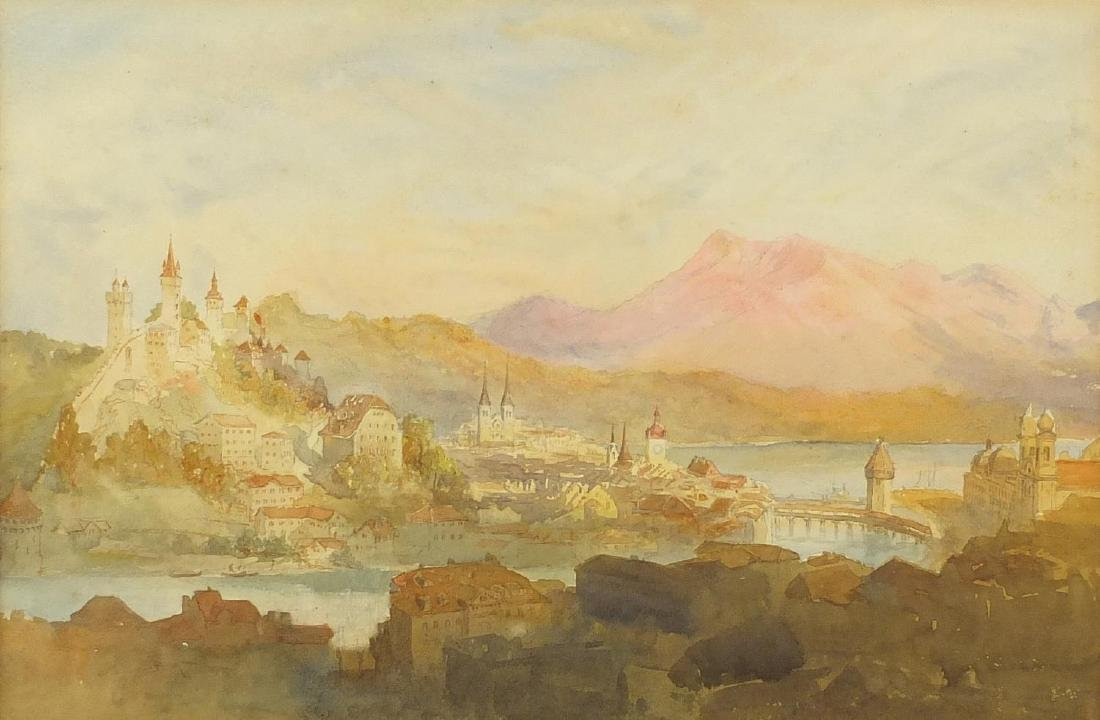 Continental city before mountains, 19th century watercolour, mounted and framed, 30cm x 20cm Further