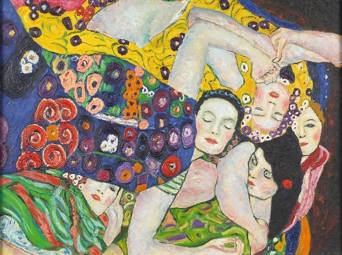 After Gustav Klimt - Abstract composition, five surreal females, oil on canvas, framed, 38.5cm x
