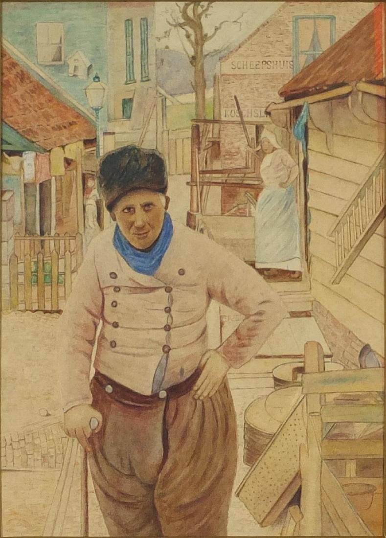 After Mortimer Luddington Menpes - Scheepshuis, watercolour, labels verso, 22.5cm x 16.5cm Further