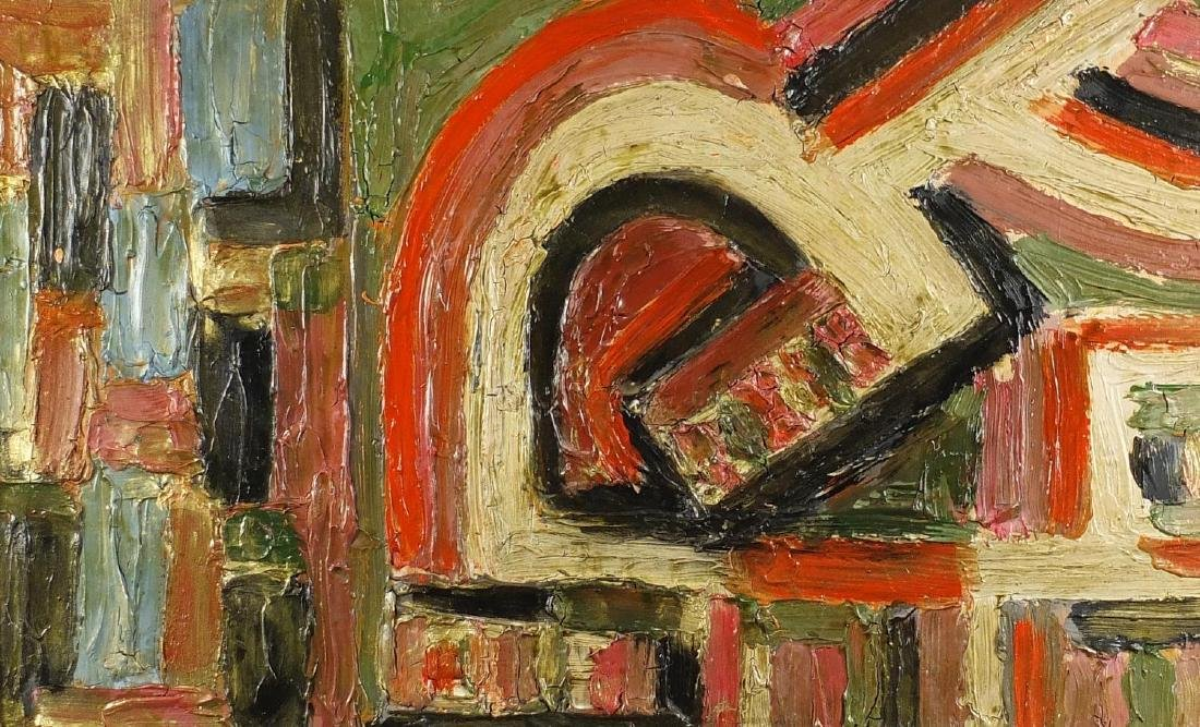 After Jean Dubuffet - Abstract composition, impasto oil on board, inscribed verso, mounted and