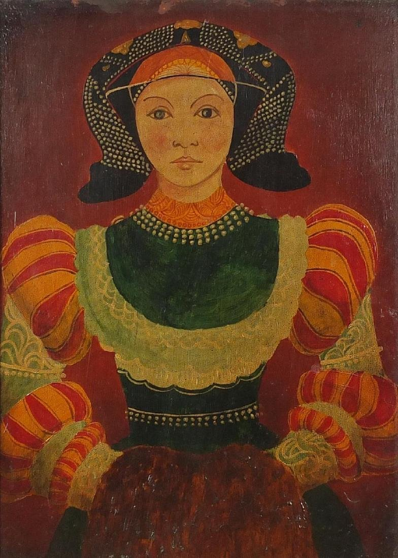 Portrait of a girl in traditional dress, 19th century Russian school oil on board, mounted and