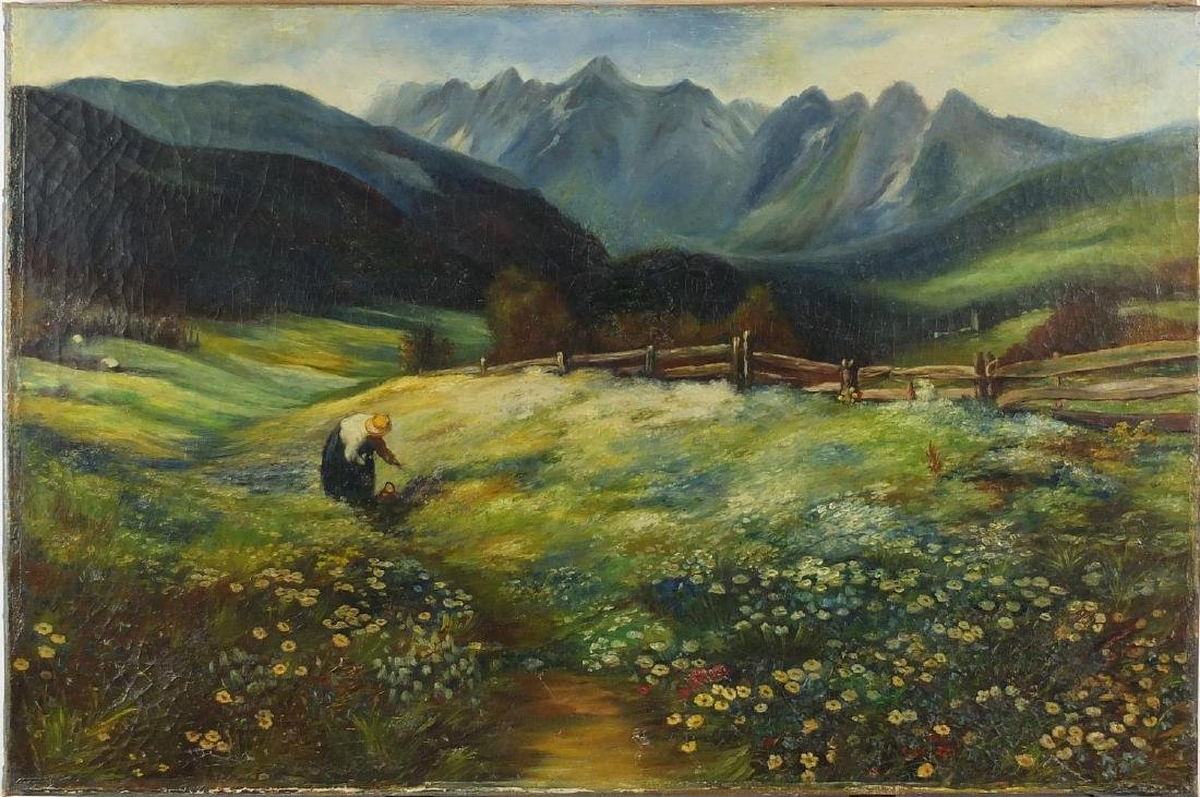 Attributed to John Macwhirter - Alpine landscape, oil onto canvas, label verso, unframed, 61cm x