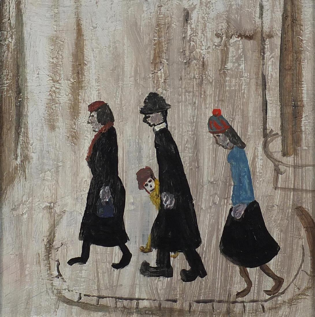 After Laurence Stephen Lowry - The family, oil on board, framed, 27cm x 27cm Further condition