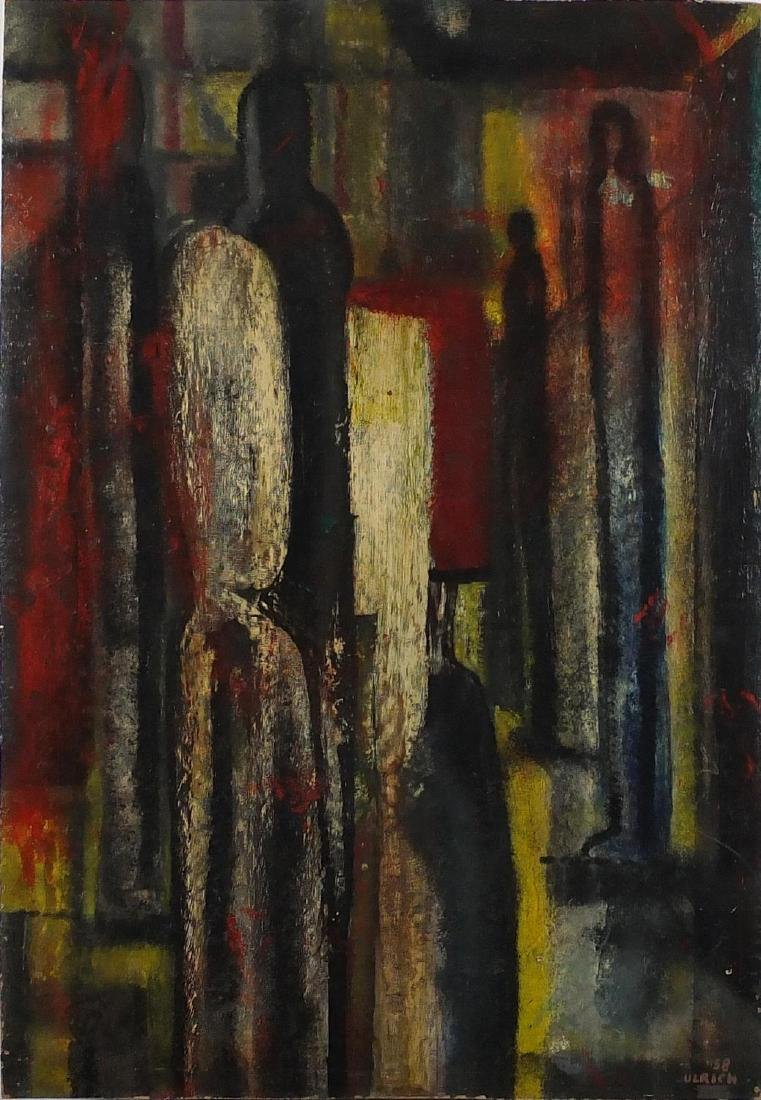 Wolfgang Ulrich - Abstract composition, surreal figures, oil on board, unframed, 92cm x 64cm Further
