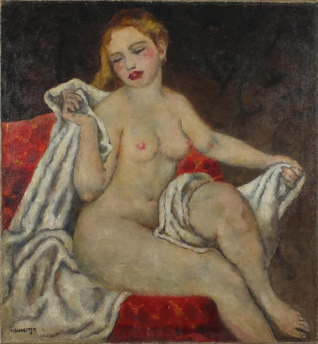 H Schaeffer - Nude female in an interior, early 20th century oil on canvas, unframed, 77cm x 71cm