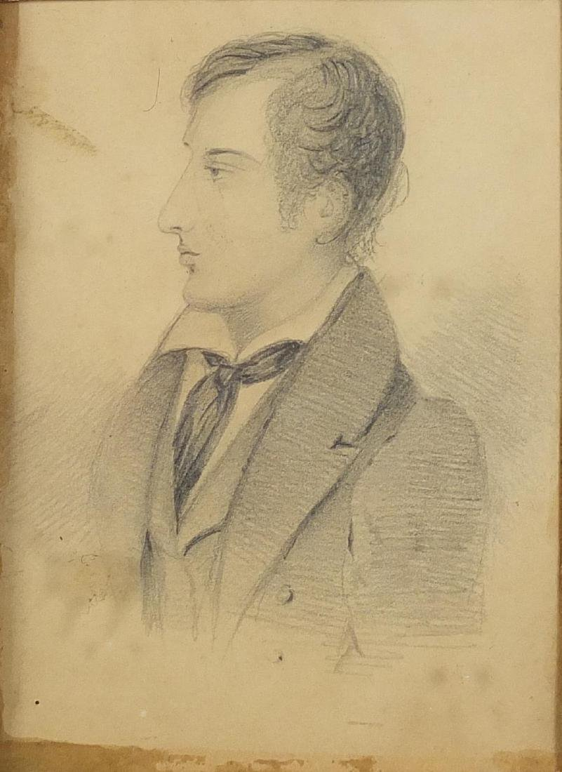 Manner of Thomas Phillips RA - Head and shoulders portrait of Lord Byron, 19th century pencil,