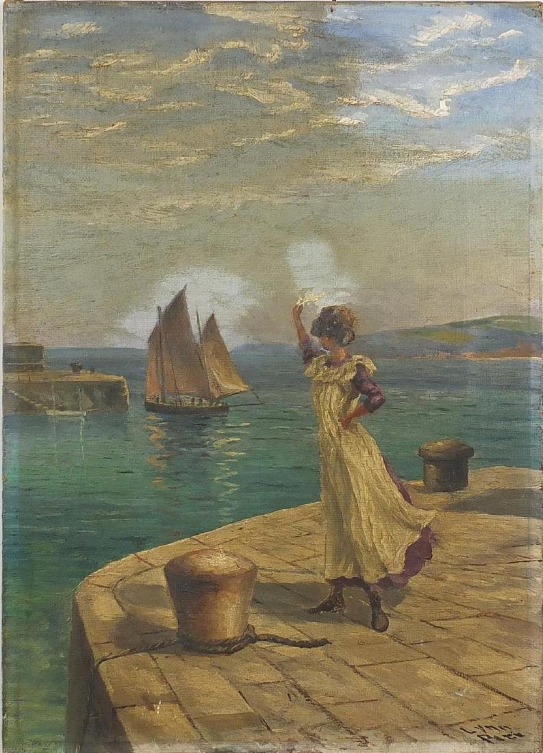 James Lynn Pitt - Waving fishing fleet goodbye, oil on canvas, unframed, 35.5cm x 25.5cm Further