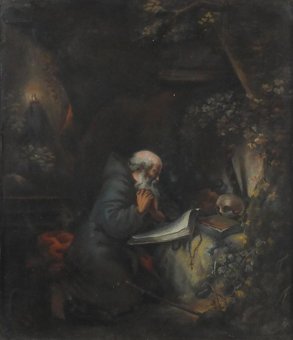 Saint Jerome in a cave, 19th century pastel on paper, framed, 56cm x 48cm Further condition