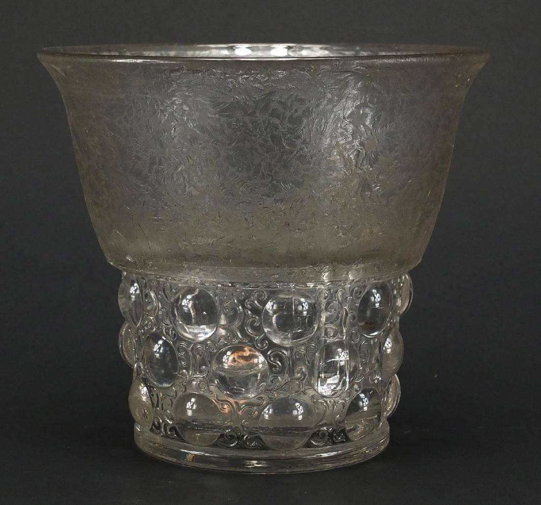 Art Deco crackled and clear glass vase decorated with foliate motifs, 16.5cm high Further