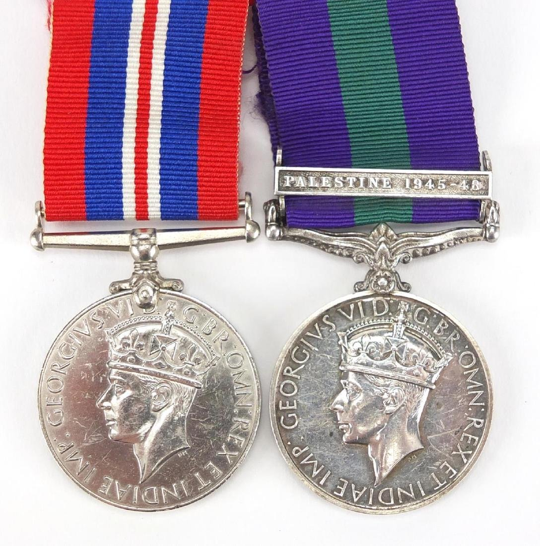 British Military World War II General Service medal with Palestine bar and 1934-45 medal, the