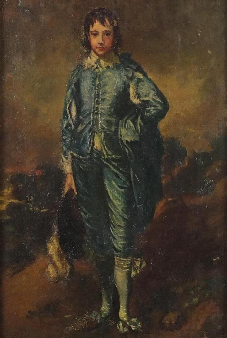 After Thomas Gainsborough - The Boy Blue, oil on canvas, framed, 24.5cm x 16.5cm Further condition